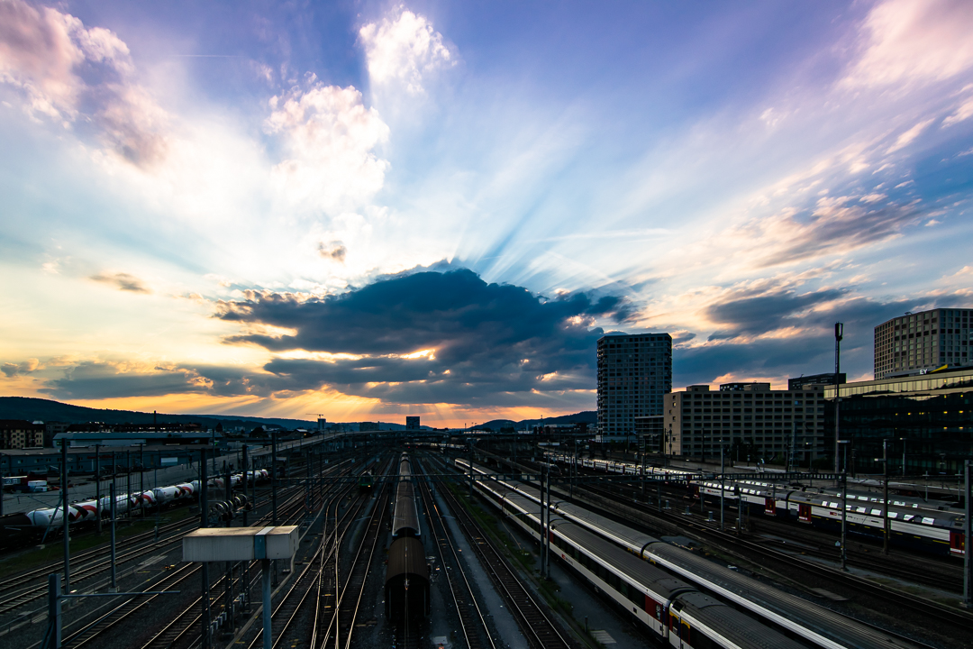 """Zurich: View from Hardbrücke - The """"Hardbrücke"""" in Zürich is a great place to go. As it goes from north east to south west, you can often enjoy sunsets from there, if the weather is supportive."""